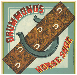Drummond's Horseshoe Brand  Antique Tobacco Caddy Label
