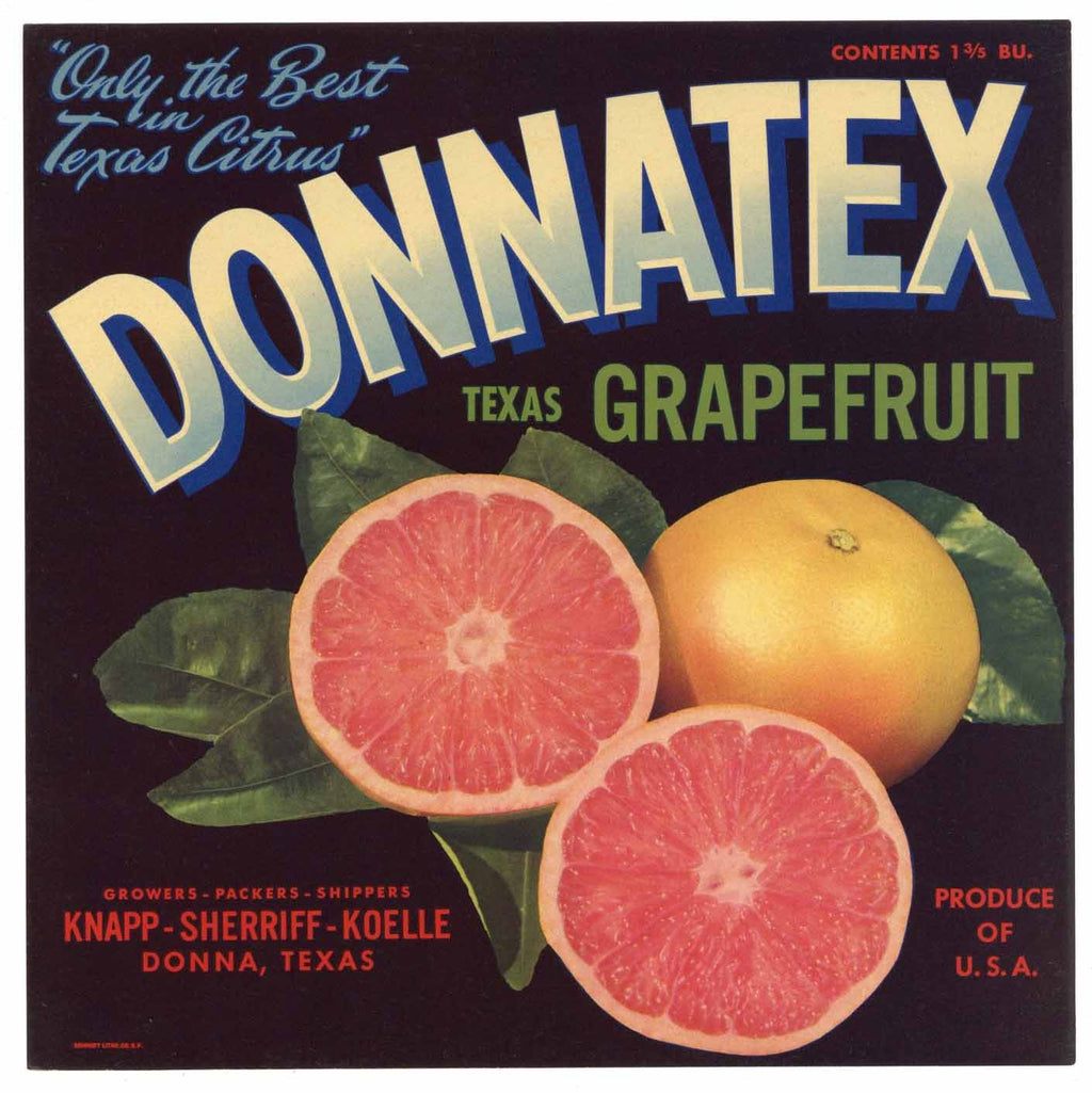 Donnatex Brand Vintage Donna Texas Grapefruit Crate Label