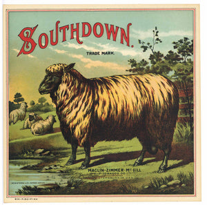 Southdown Brand Antique Tobacco Caddy Label