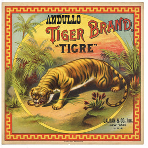 Tiger Brand Antique Tobacco Caddy Label, Galban & Co.