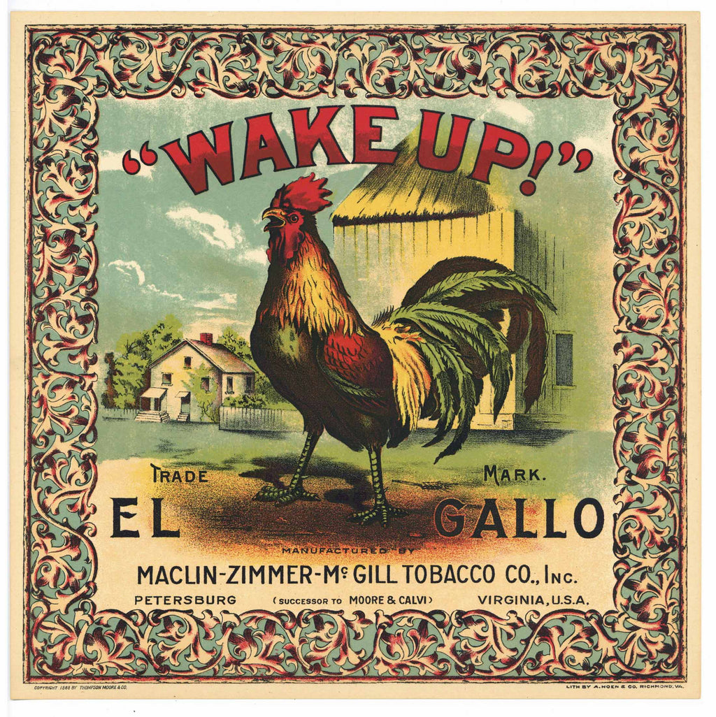 Wake Up Brand Antique Tobacco Caddy Label