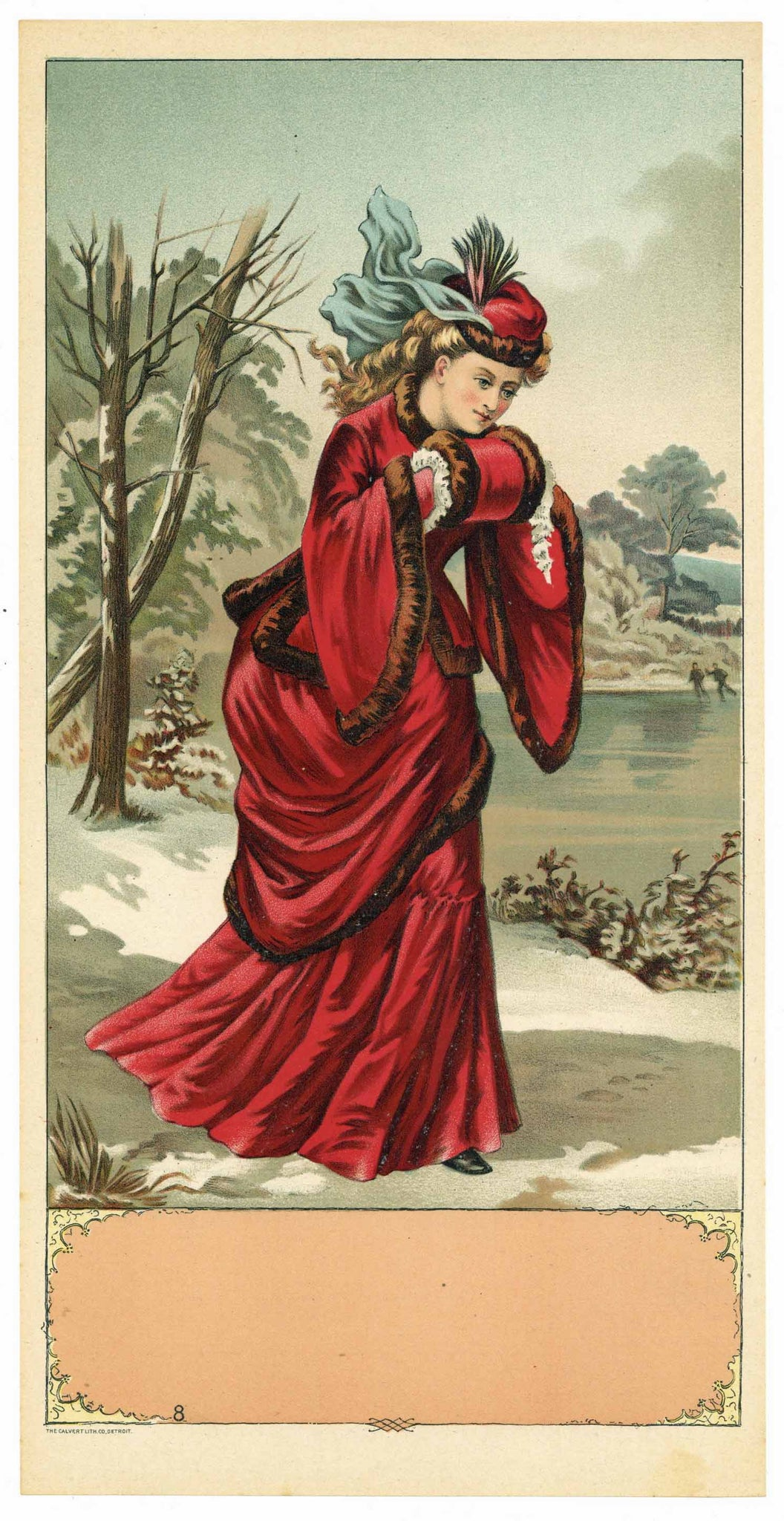 Stock Antique Tobacco Caddy Label, girl in red dress