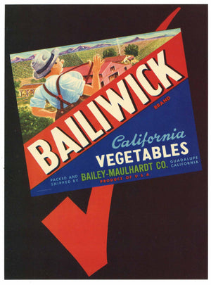 Bailiwick Brand Vintage Santa Barbara County Vegetable Crate Label