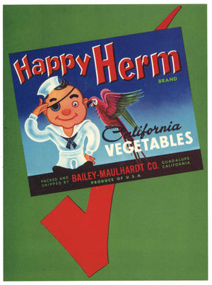 Happy Herm Brand Vintage Santa Barbara County Vegetable Crate Label, L
