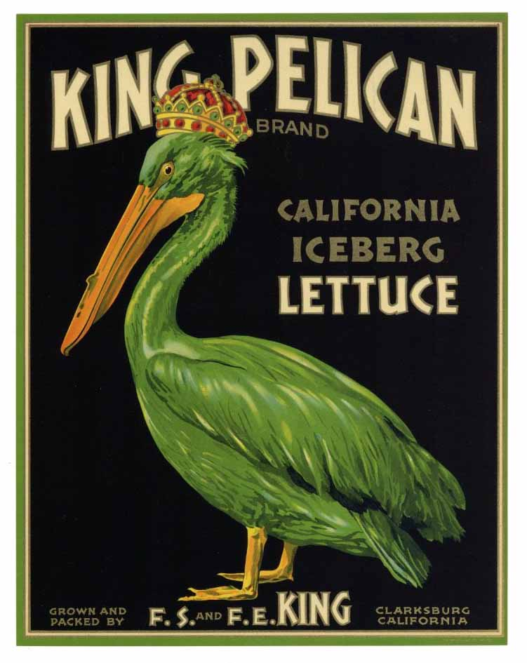 King Pelican Brand Vintage Vegetable Crate Label
