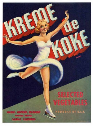 Kreme de Koke Brand Vintage Salinas Vegetable Crate Label