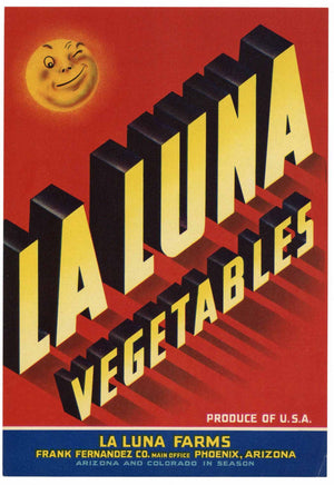 La Luna Brand Vintage Arizona Vegetable Crate Label