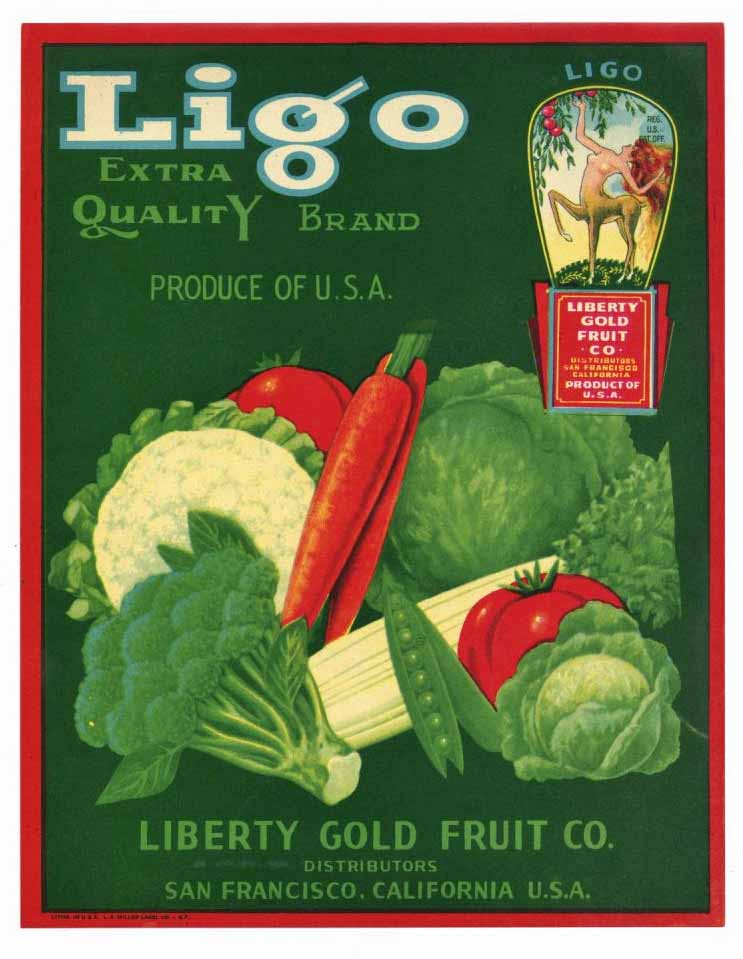 Ligo Brand Vintage Vegetable Crate Label