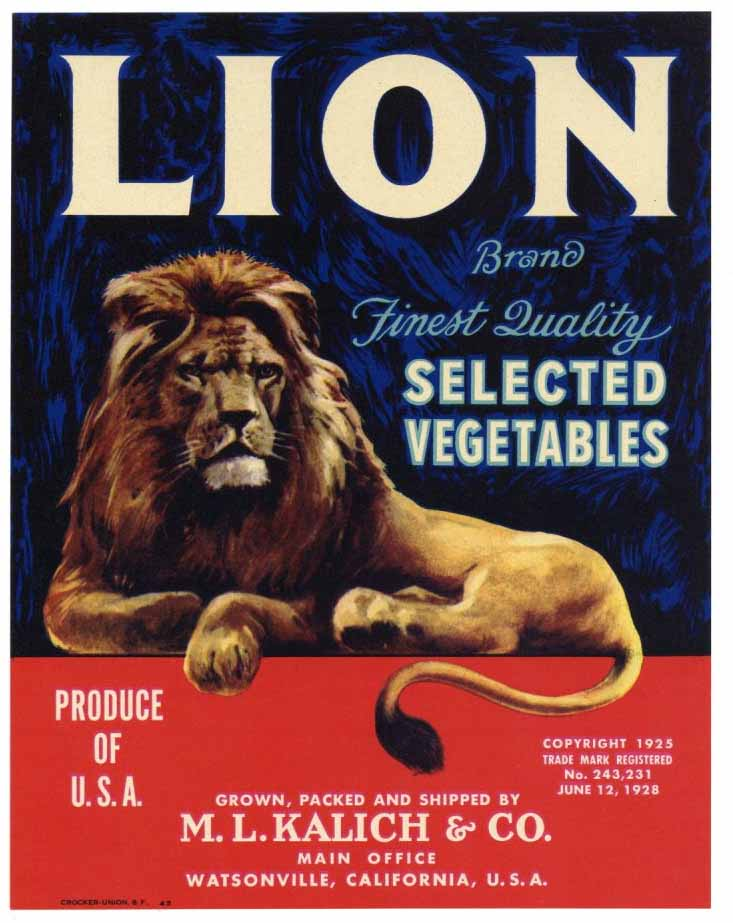 Lion Brand Vintage Watsonville Vegetable Crate Label