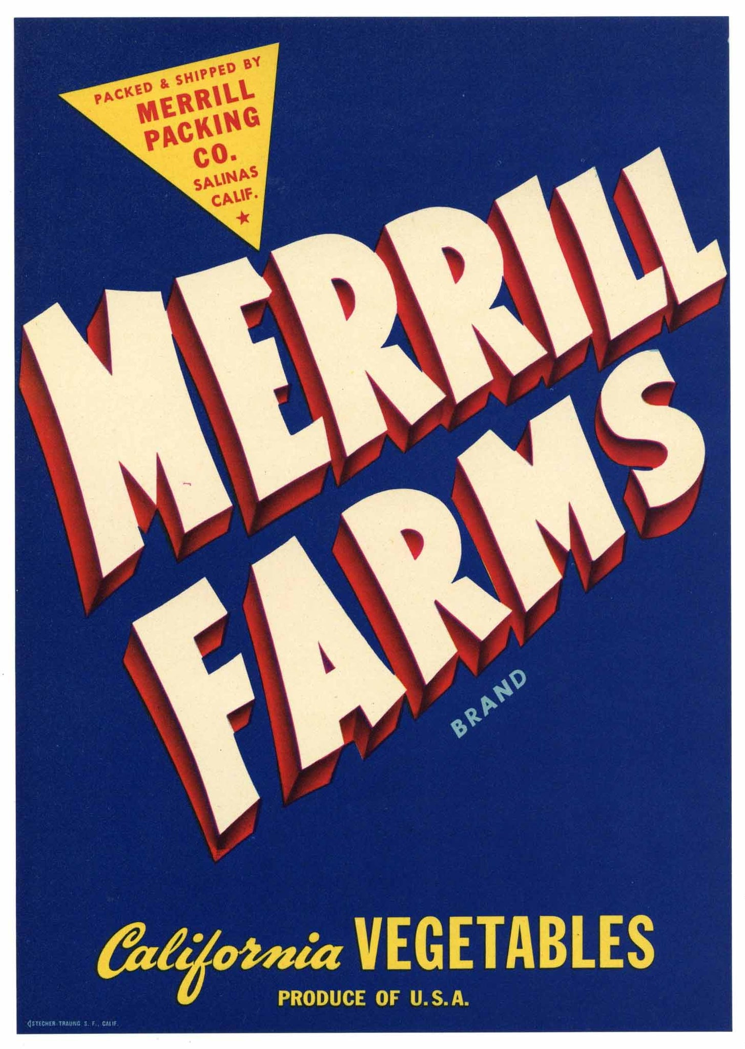 Merrill Farms Brand Vintage Salinas Vegetable Crate Label