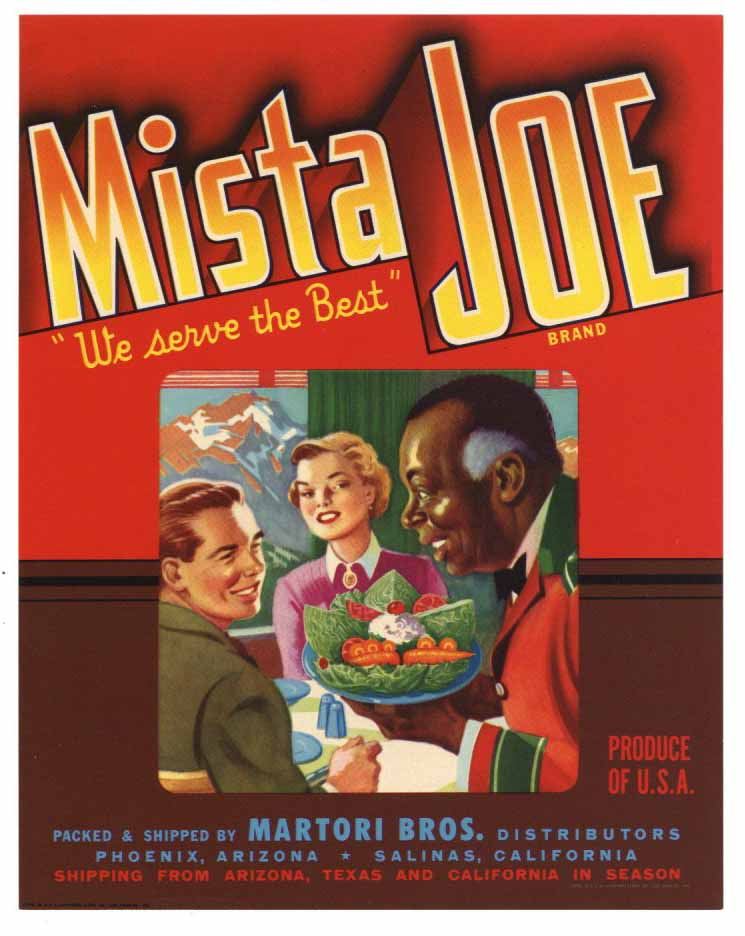 Mista Joe Brand Vintage Arizona Vegetable Crate Label