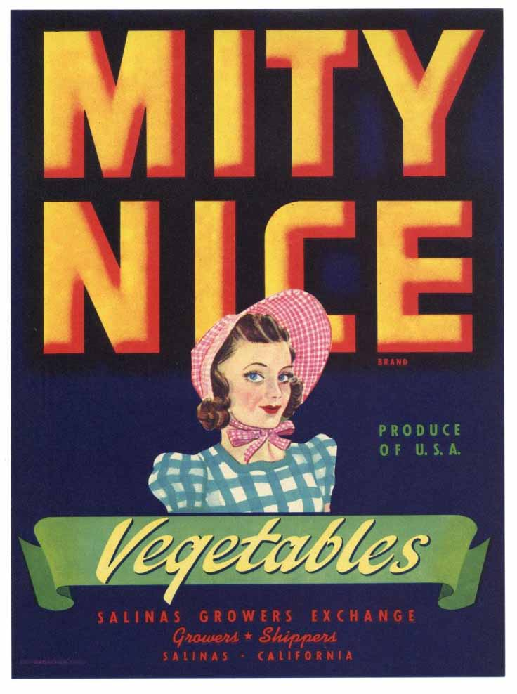 Mity Nice Brand Vintage Salinas Vegetable Crate Label