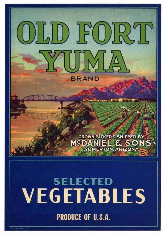 Old Fort Yuma Brand Vintage Arizona Vegetable Crate Label