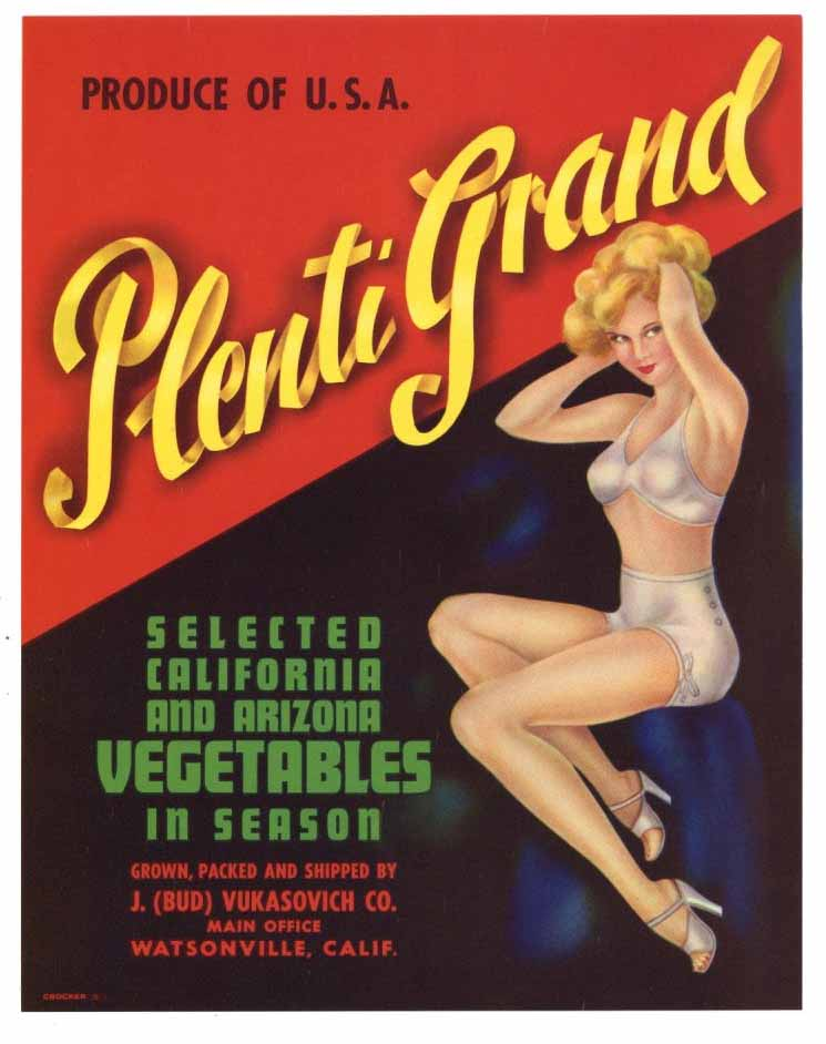 Plenti Grand Brand Vintage  Watsonville Vegetable Crate Label