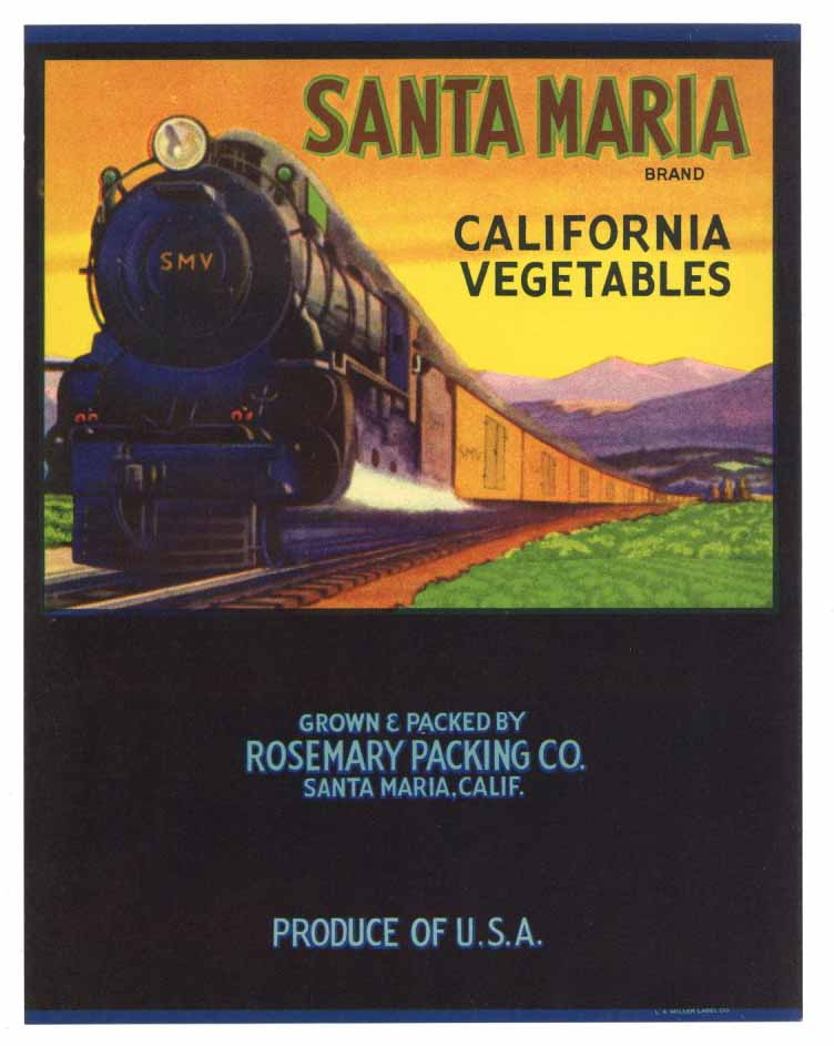 Santa Maria Brand Vintage Vegetable Crate Label