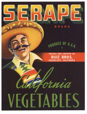 Serape Brand Vintage Vegetable Crate Label