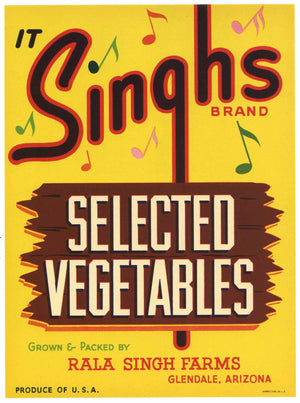 It Singhs Brand Vintage Glendale Arizona Vegetable Crate Label