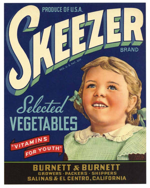 Skeezer Brand Vintage Salinas Vegetable Crate Label