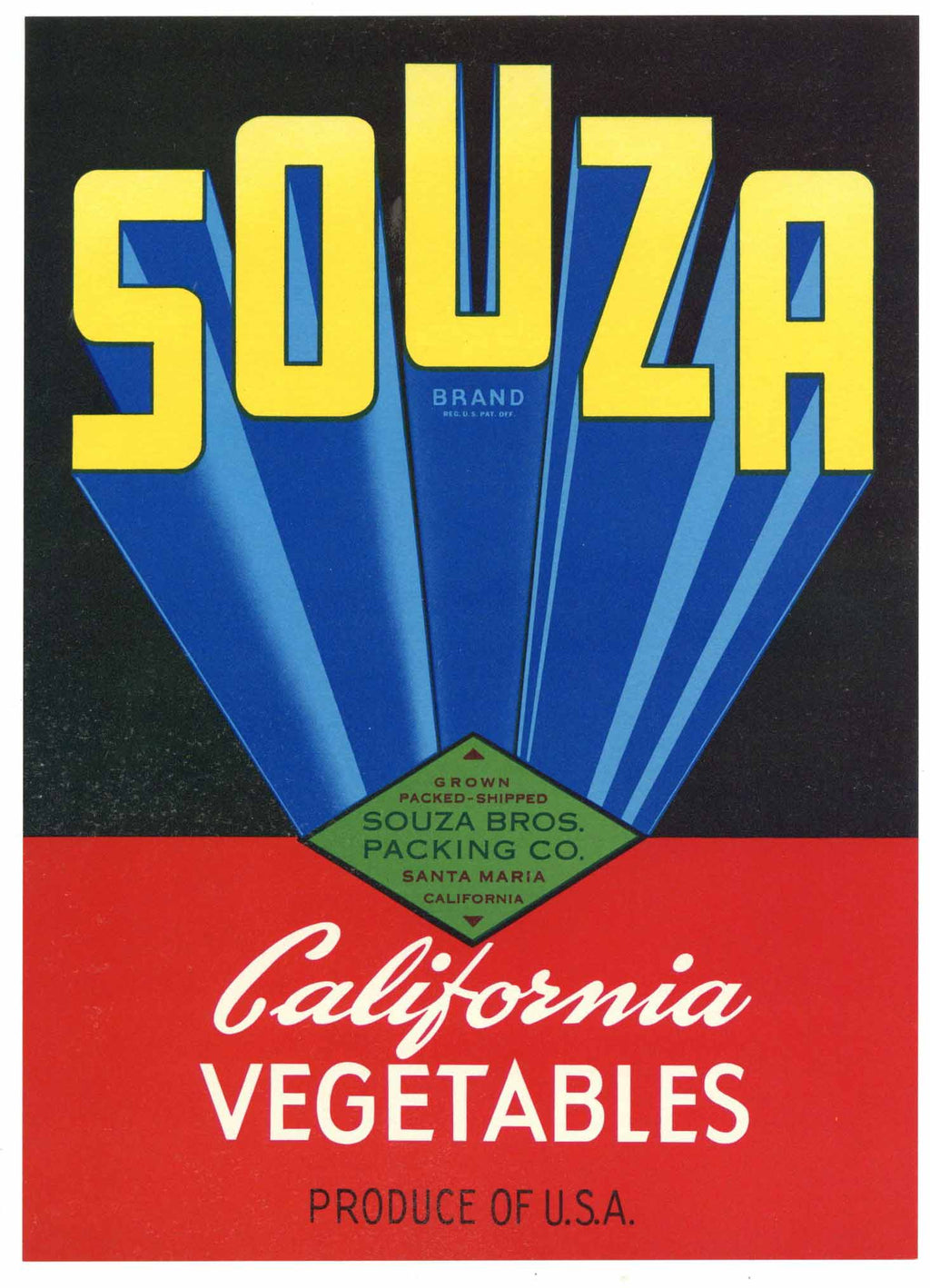 Souza Brand Vintage Santa Maria Vegetable Crate Label