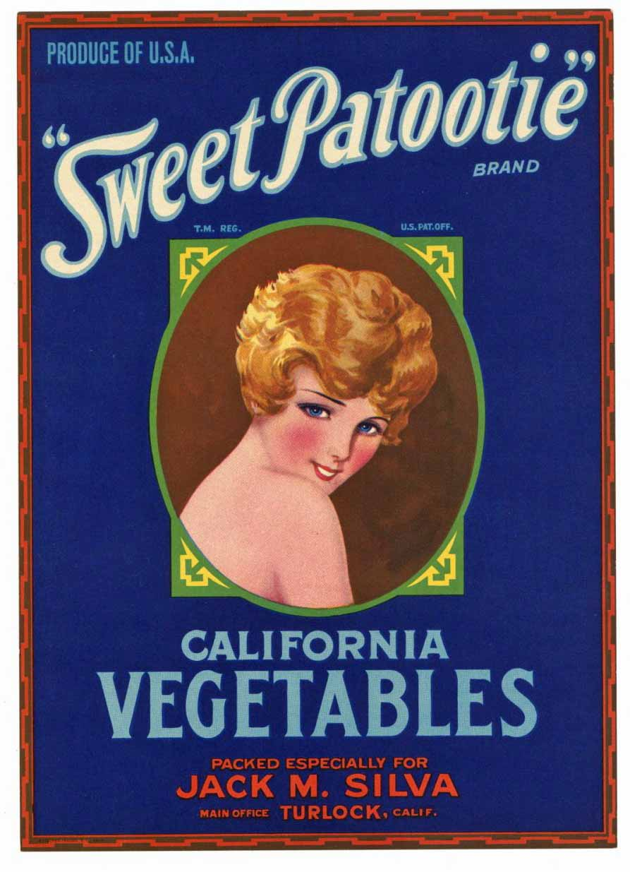 Sweet Patootie Brand Vintage Turlock Vegetable Crate Label, L