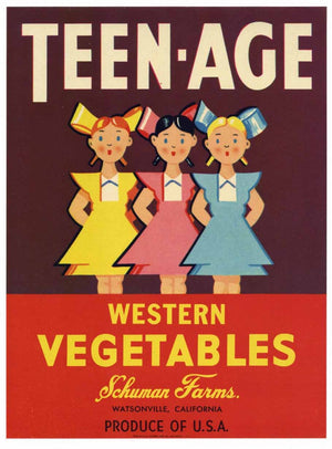 Teen-Age Brand Vintage Watsonville Vegetable Crate Label
