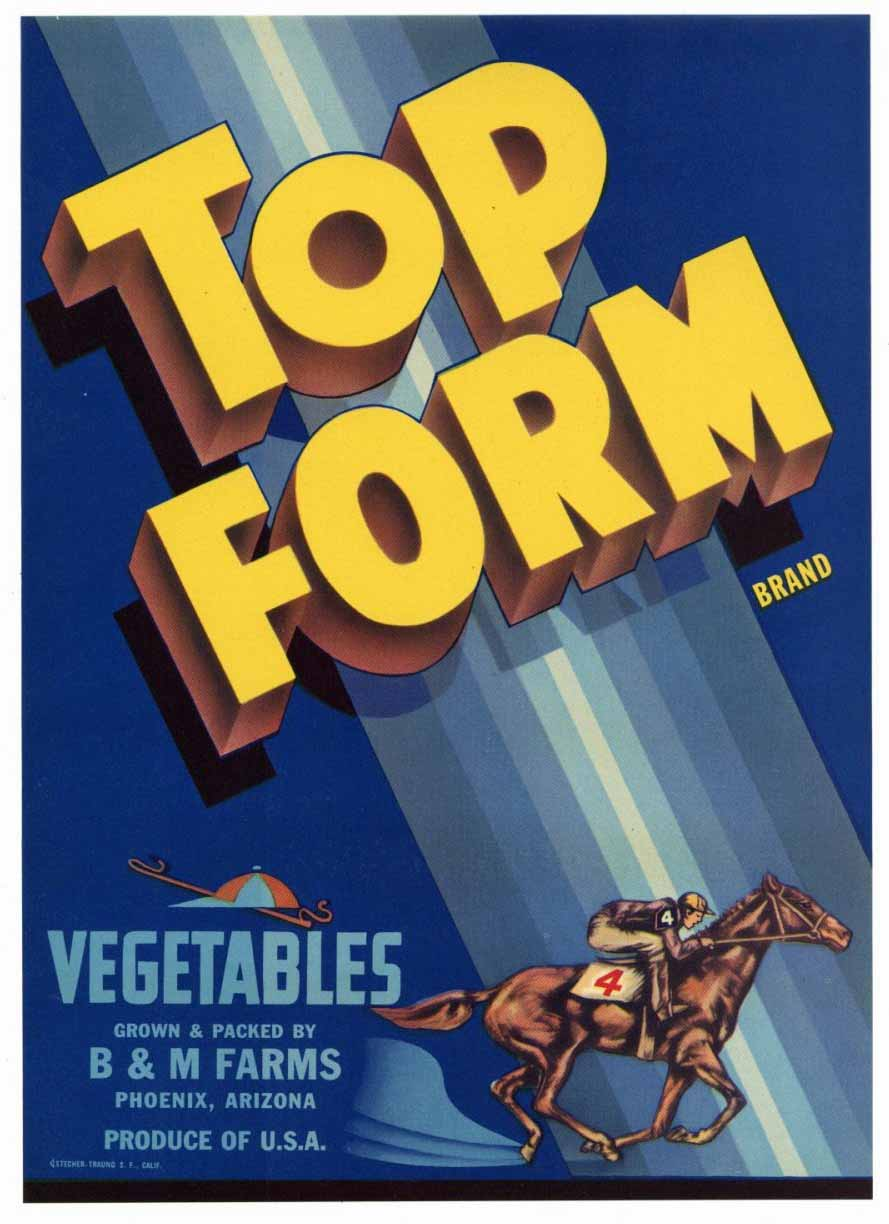 Top Form Brand Vintage Arizona Vegetable Crate Label