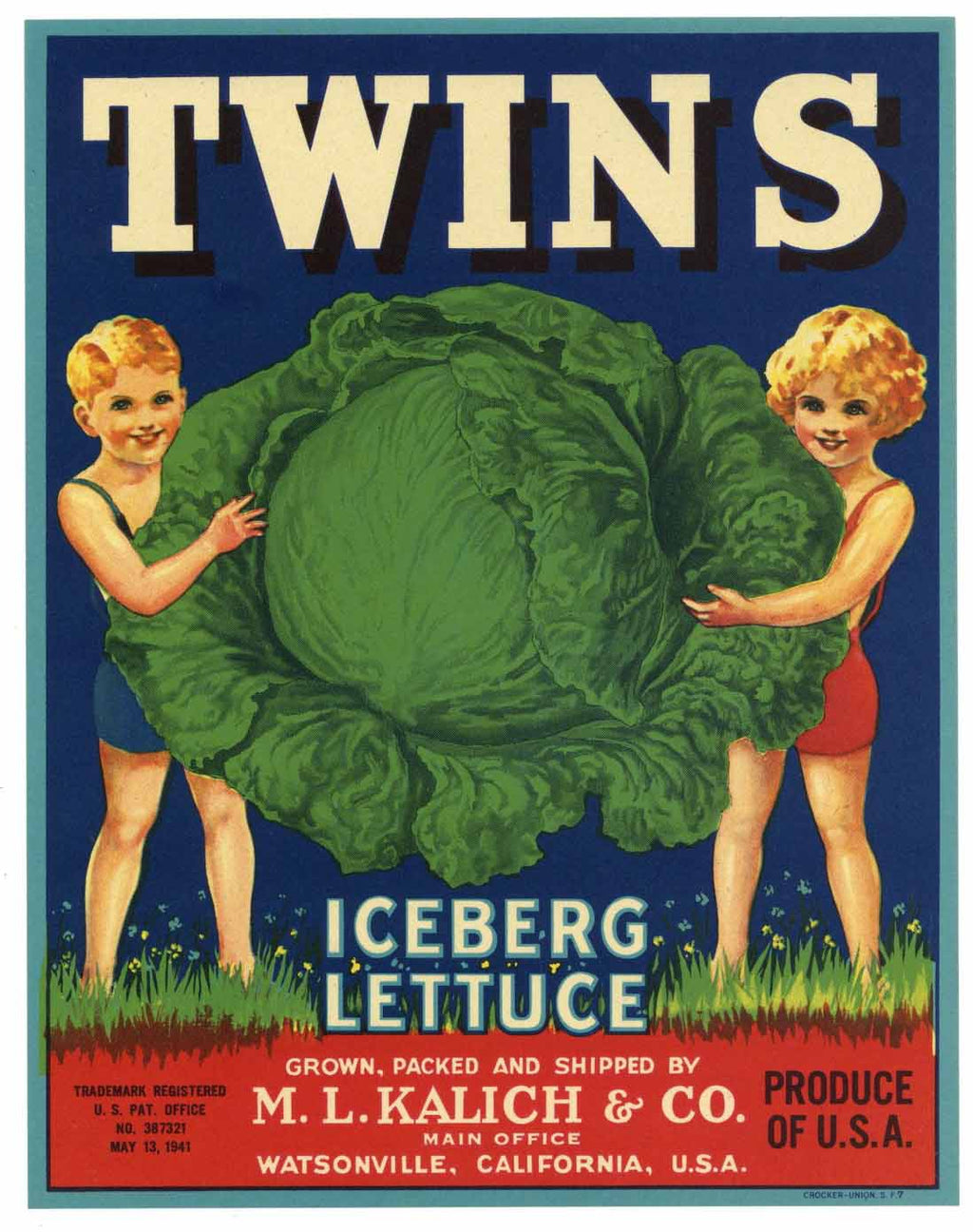 Twins Brand Vintage Watsonville Vegetable Crate Label