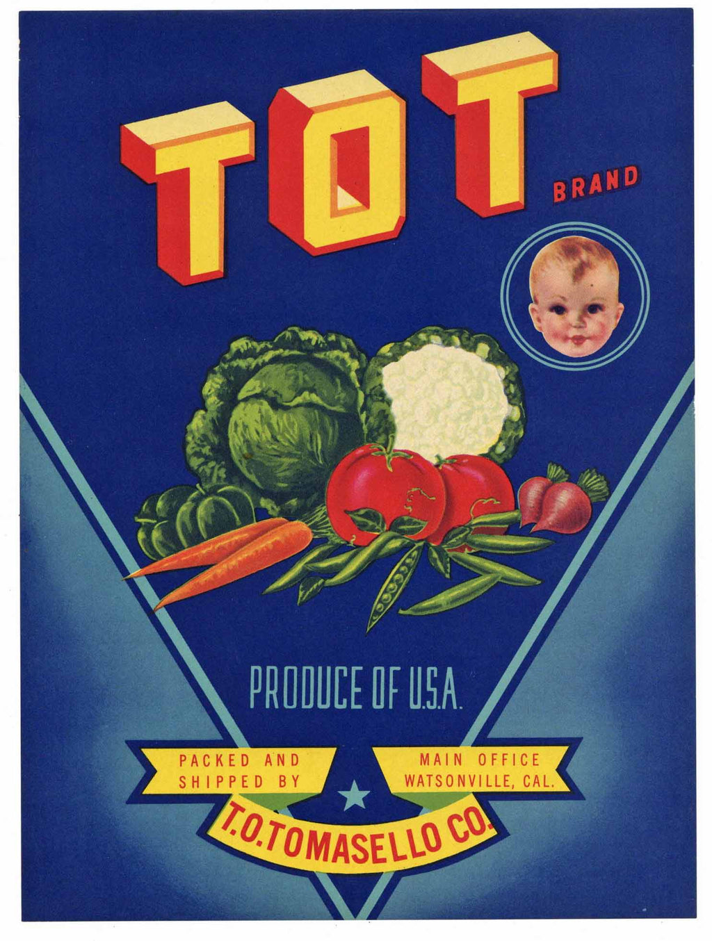Tot Brand Vintage Watsonville Vegetable Crate Label