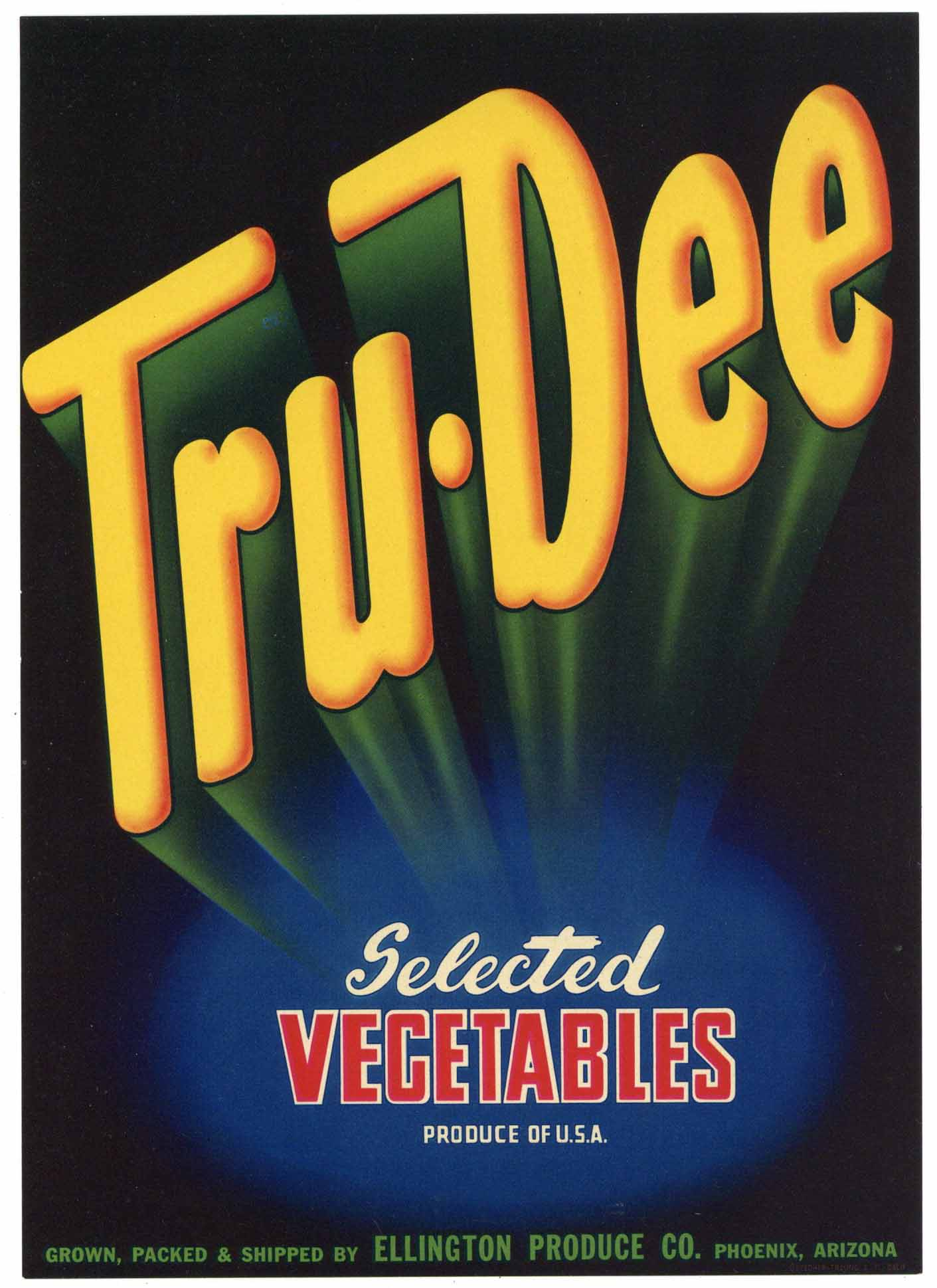 Tru Dee Brand Vintage Arizona Vegetable Crate Label