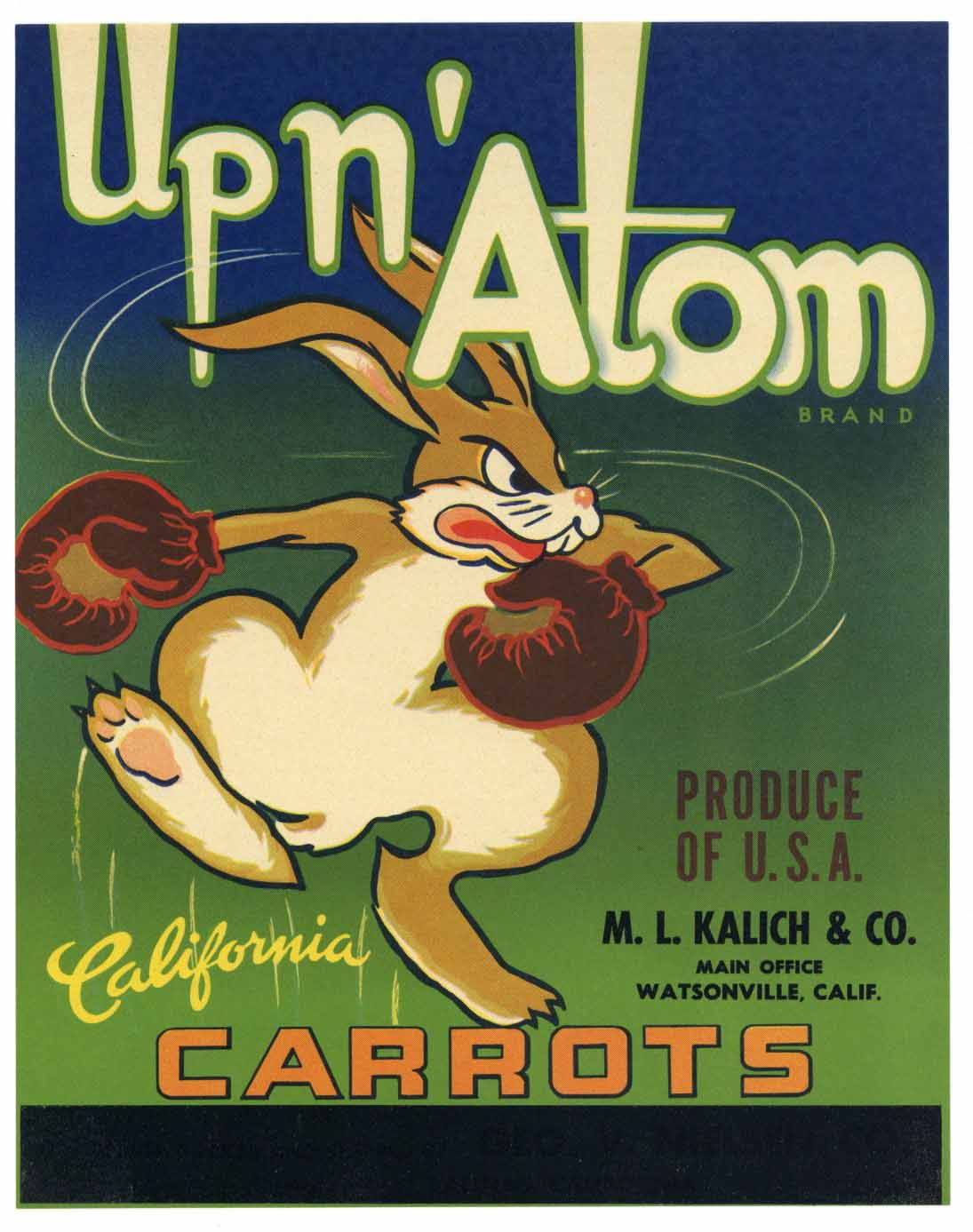 Up N' Atom Brand Vintage Watsonville Carrot Crate Label
