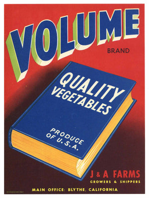 Volume Brand Vintage Vegetable Crate Label