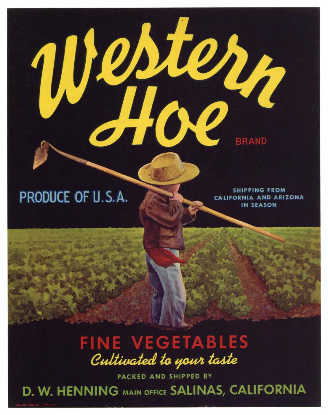 Western Hoe Brand Vintage Salinas Vegetable Crate Label
