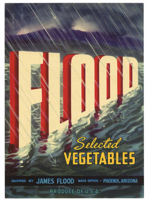 Flood Brand Vintage Arizona Vegetable Crate Label
