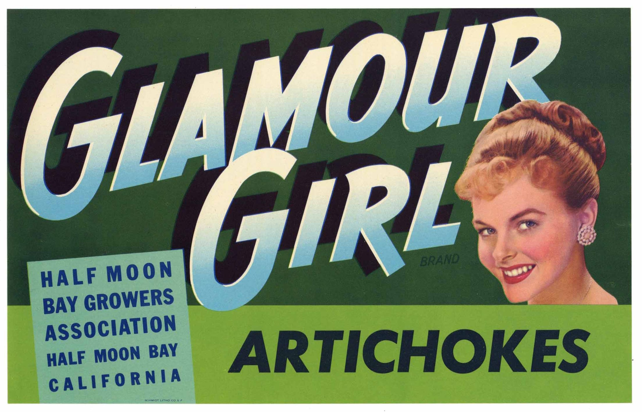 Glamour Girl Brand Vintage Half Moon Bay Vegetable Crate Label, Artichokes
