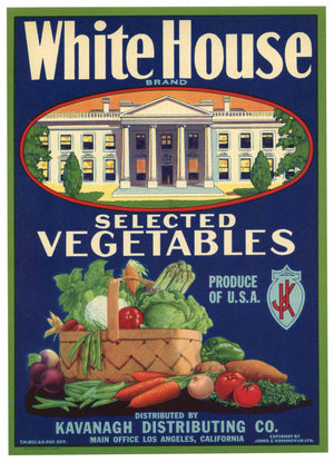White House Brand Vintage Vegetable Crate Label