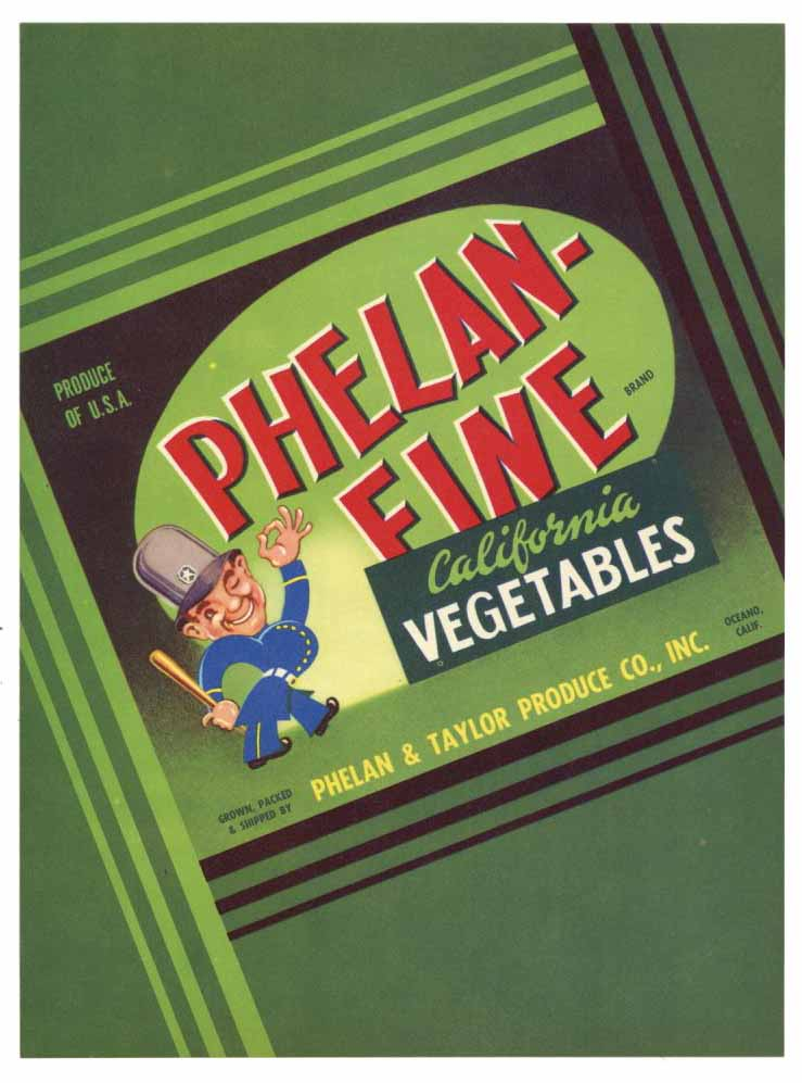 Phelan-Fine Brand Vintage Oceano Vegetable Crate Label