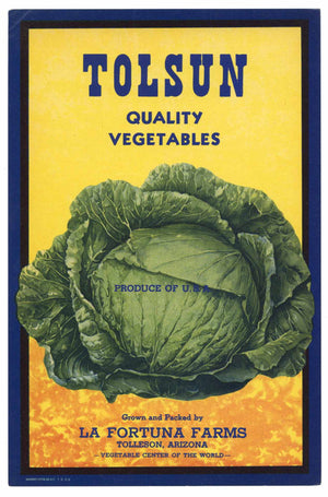 Tolsun Brand Vintage Arizona Vegetable Crate Label