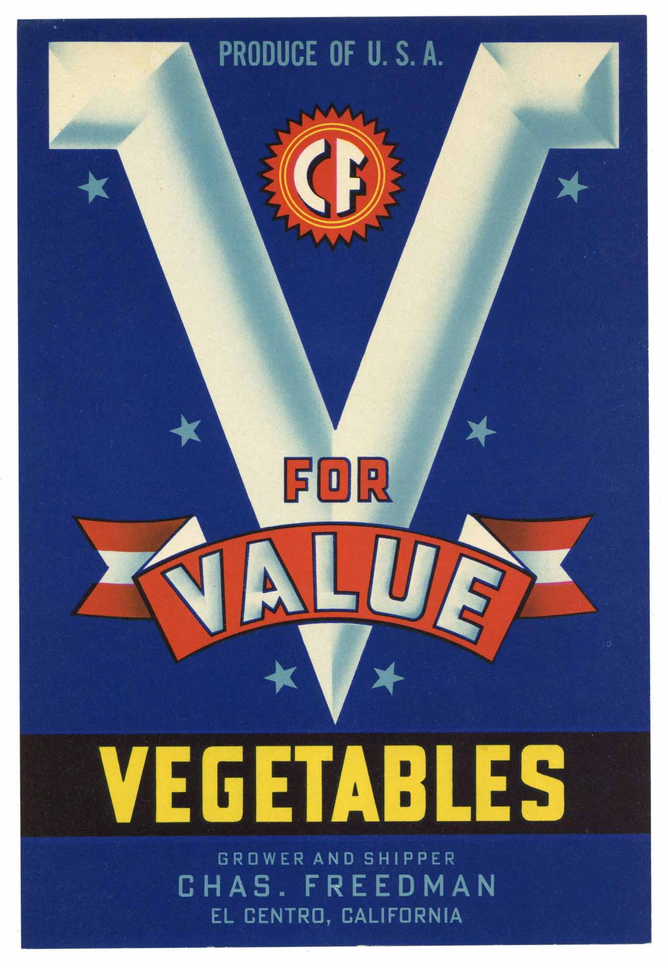 V For Value Brand Vintage Imperial Valley Vegetable Crate Label