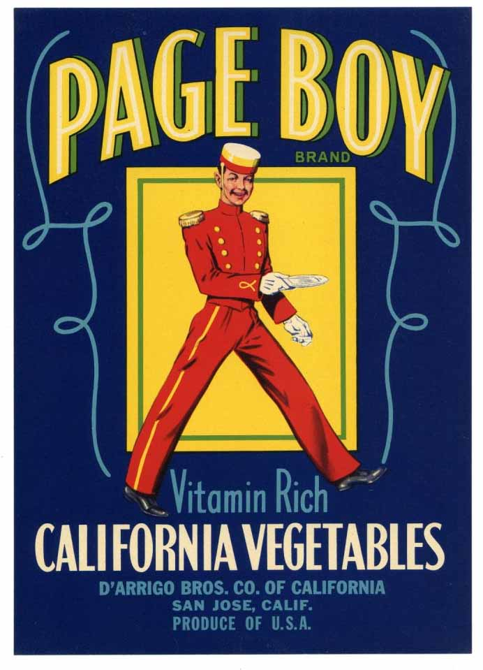 Page Boy Brand Vintage San Jose Vegetable Crate Label
