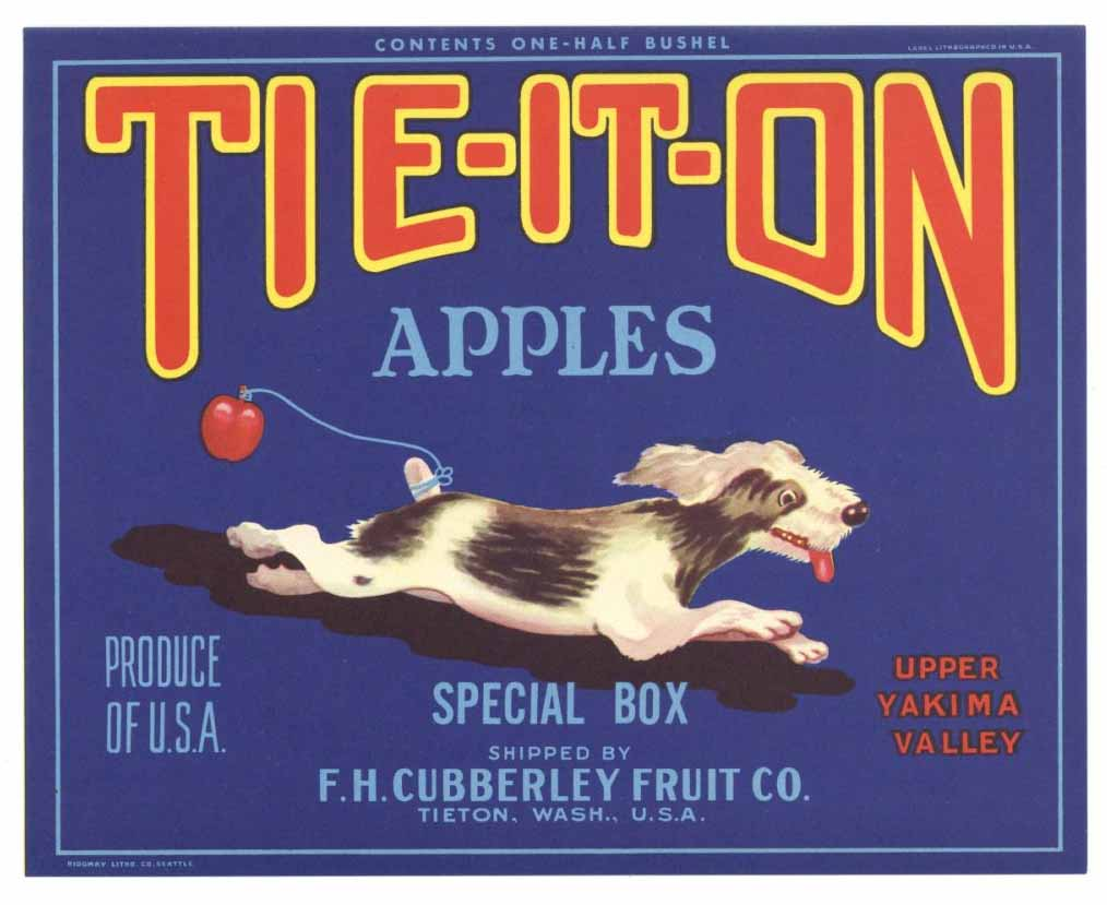 Tie-It-On Brand Vintage Washington Apple Crate Label gp