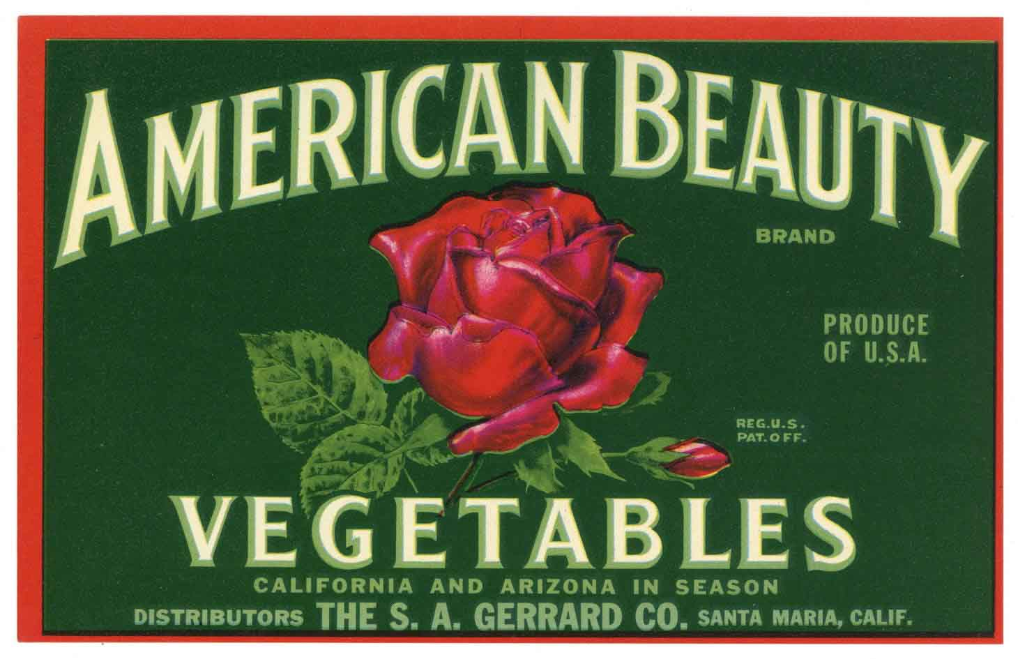 American Beauty Brand Vintage Vegetable Crate Label