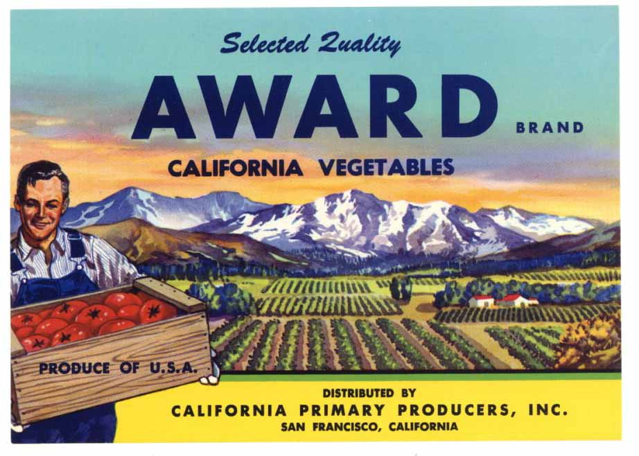 Award Brand Vintage Vegetable Crate Label