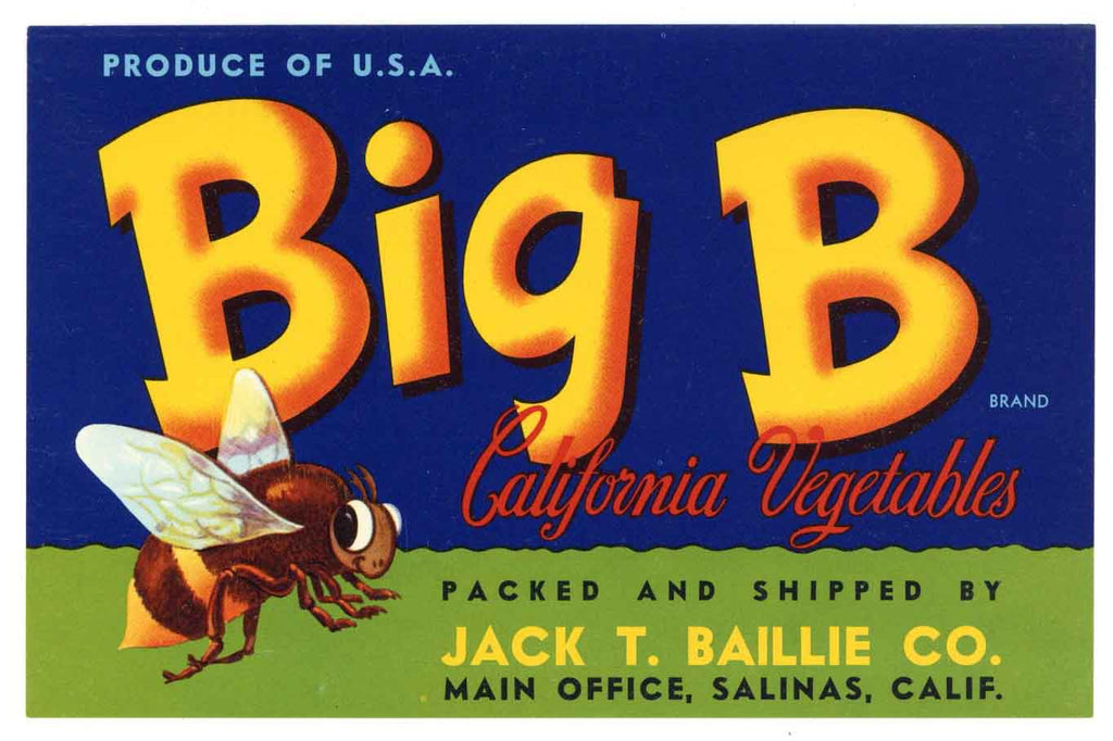 Big B Brand Vintage Salinas Vegetable Crate Label