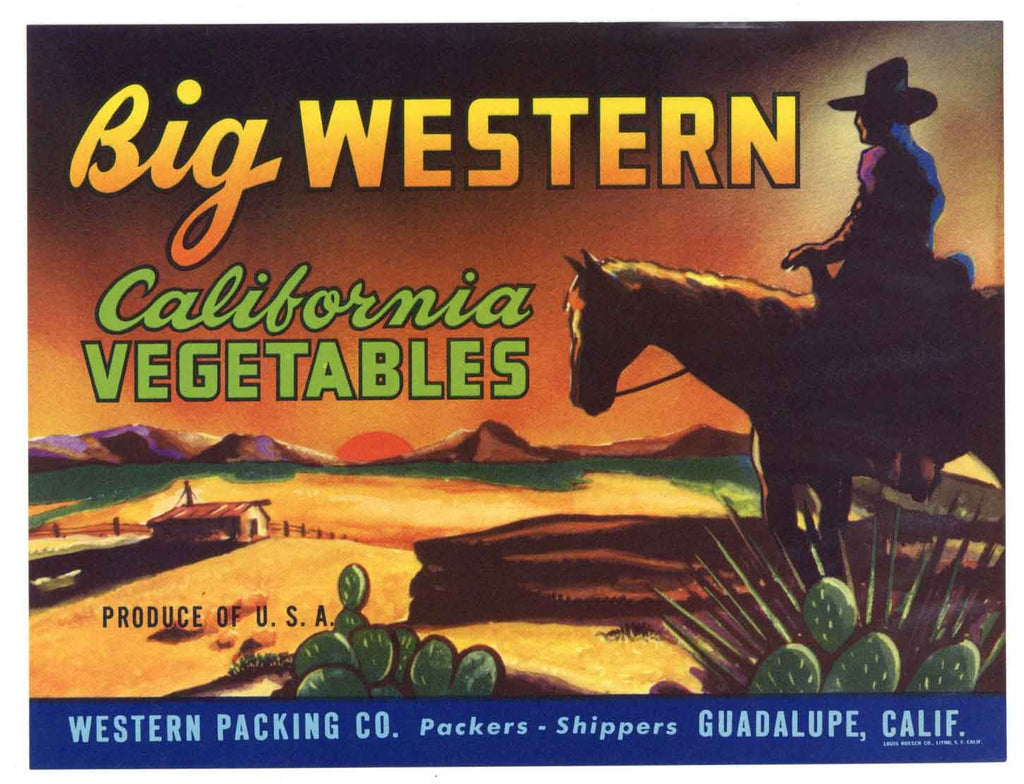 Big Western Brand Vintage Vegetable Crate Label