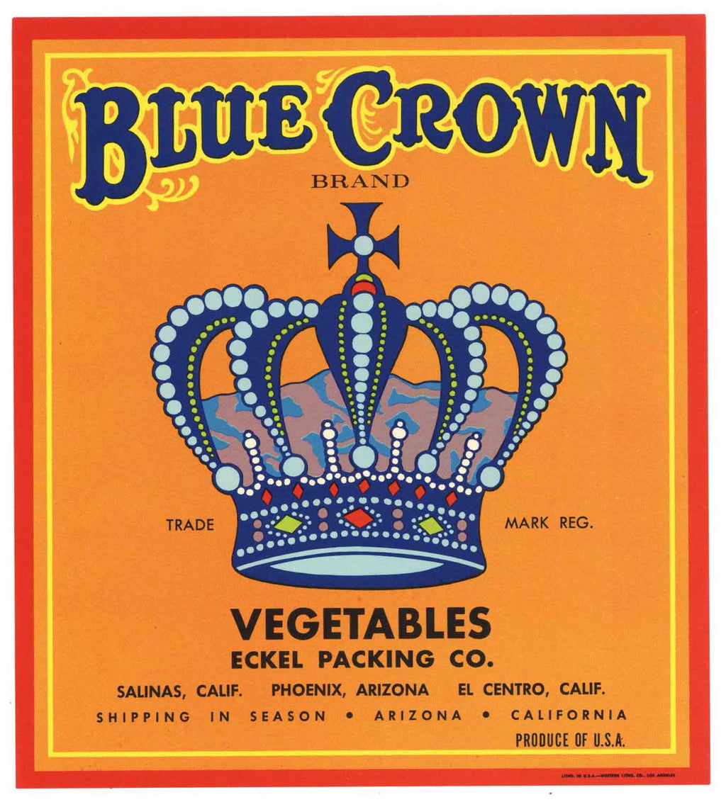 Blue Crown Brand Vintage Vegetable Crate Label
