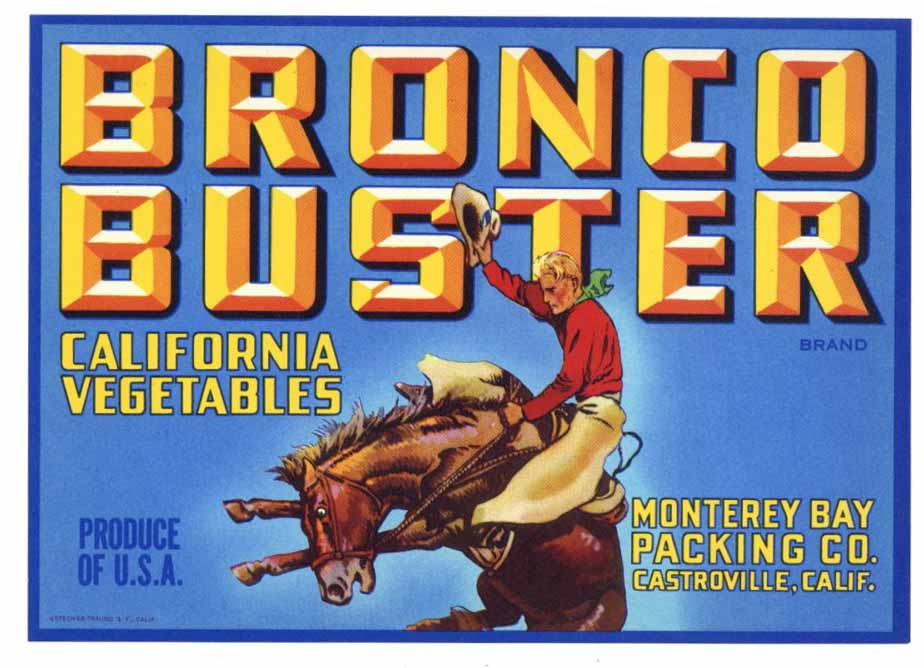 Bronco Buster Brand Vintage Monterey Bay Packing Vegetable Crate Label