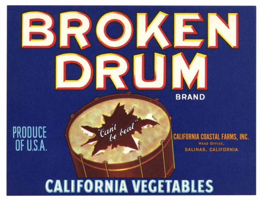 Broken Drum Brand Vintage Salinas Vegetable Crate Label