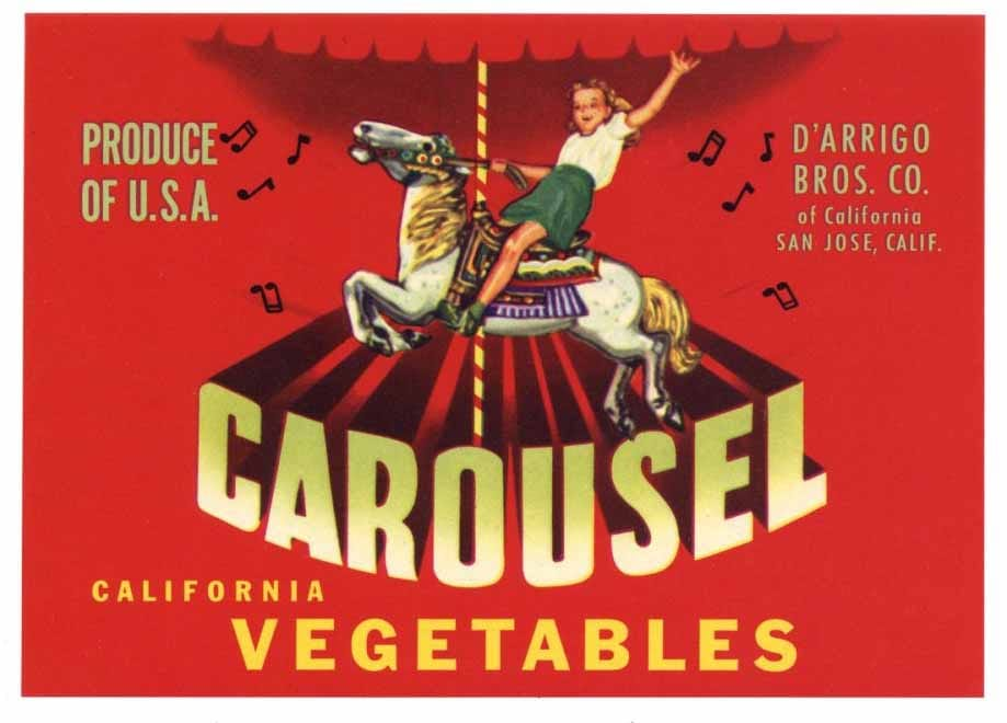 Carousel Brand Vintage San Jose Vegetable Crate Label, s