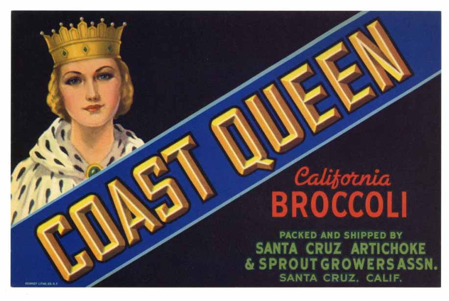 Coast Queen Brand Vintage Santa Cruz Broccoli Crate Label