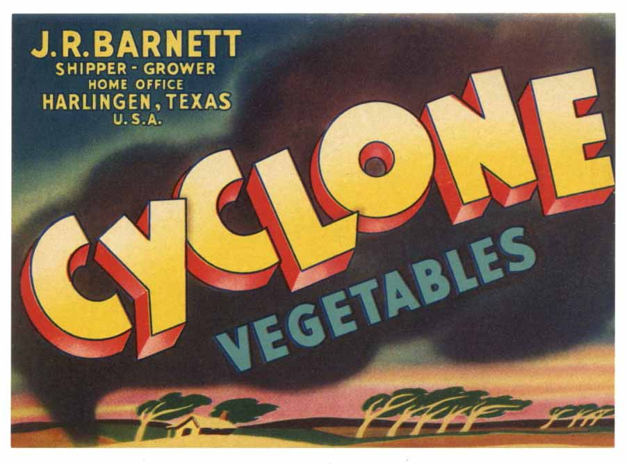 Cyclone Brand Vintage Texas Vegetable Crate Label